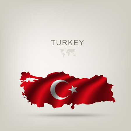turkey: Flag of Turkey as a country with a shadow