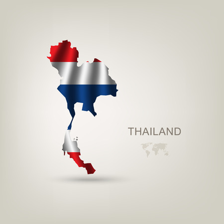 thailand culture: Flag of Thailand as a country with a shadow Illustration