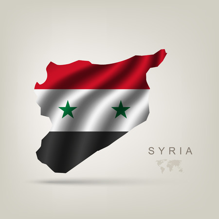 Flag of Syria as a country with a shadow Vector