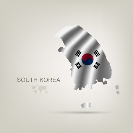 korea map: flag of South Korea as a country with a shadow