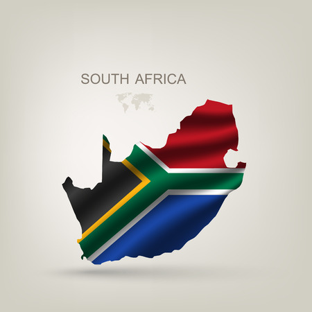 south africa flag: Flag of South African Republic to a country with a shadow
