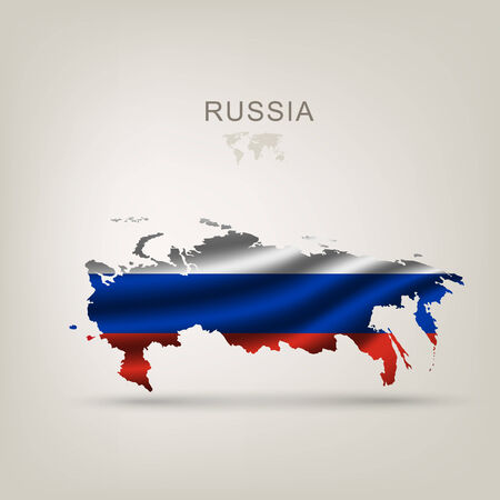 russia map: Flag of Russia as a country with a shadow