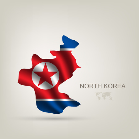 flag of North Korea as a country with a shadow Vector