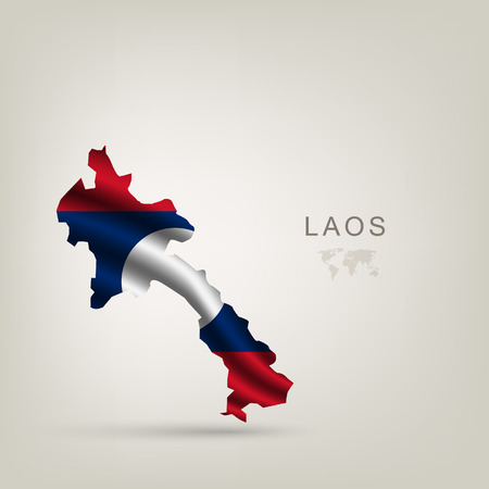 flag of Laos as a country with a shadow Vector