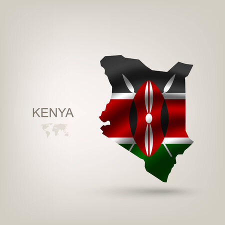 Flag of Kenya as a country with a shadow Vector