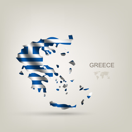greek islands: Flag of Greece as a country with a shadow Illustration