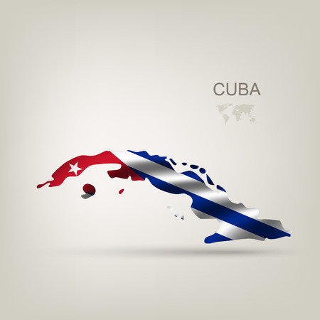 havana cuba: Flag of Cuba as a country with a shadow