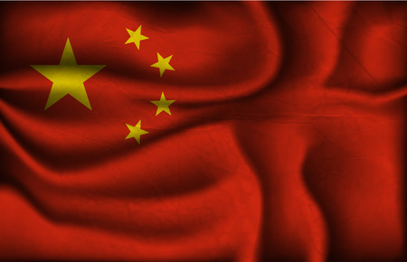 china flag: crumpled flag of China on a light background.