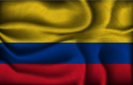 colombia flag: crumpled flag of Colombia a light background.