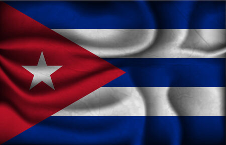 crumpled flag of Cuba a light background. Vector