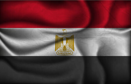 crumpled flag of Egypt on a light background. Vector