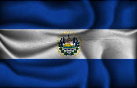 bandera de el salvador: Bandera de El Salvador arrugado sobre un fondo claro.