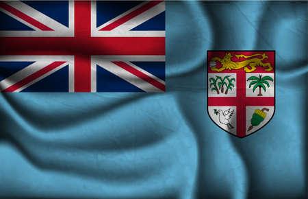 fiji: crumpled flag of Fiji on a light background.