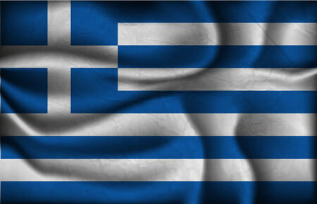 greece flag: crumpled flag of Greece on a light background.
