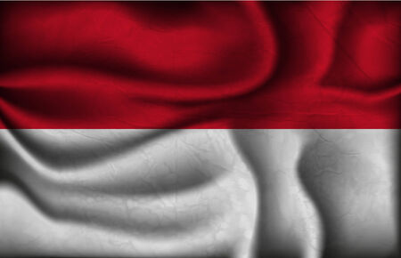 crumpled flag of Indonesia on a light background. Vector