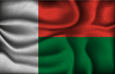 crumpled flag of Madagascar on a light background. Vector
