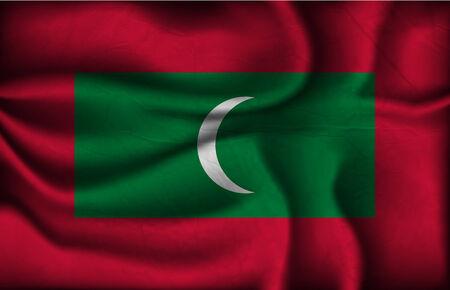 light maldives: crumpled flag of Maldives on a light background.