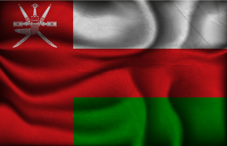 oman background: crumpled flag of Oman on a light background.