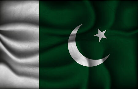 islamabad: crumpled flag of Pakistan on a light background.