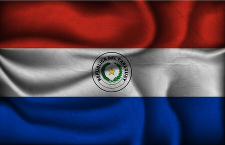 bandera de paraguay: bandera de Paraguay arrugado sobre un fondo claro. Vectores