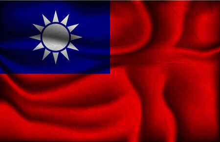 the republic of china: crumpled flag of Republic of China on a light background.