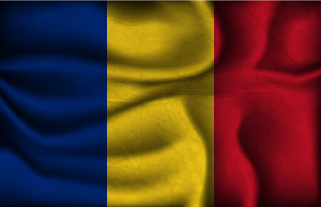 crumpled flag of Romania on a light background. Vector