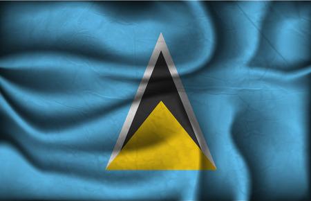 saint lucia: crumpled flag of Santa Lucia a light background.