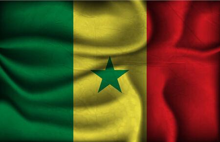 dakar: crumpled flag of Senegal on a light background.