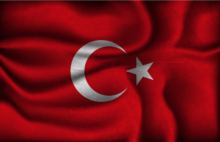 turkish flag: crumpled flag of Turkey on a light background. Illustration