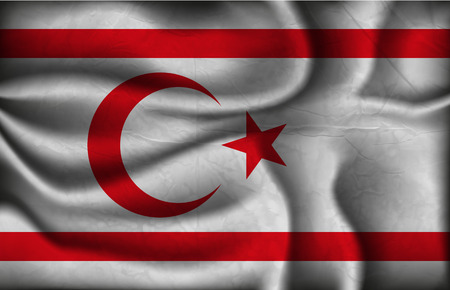 northern light: crumpled flag of Turkish Republic of Northern Cyprus on a light background.