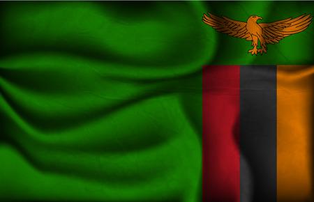zambian: crumpled flag of Zambia on a light background. Illustration