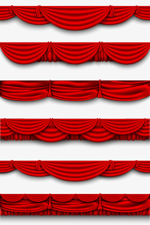 curtain: red silk set Pelmet and silk red curtains vector