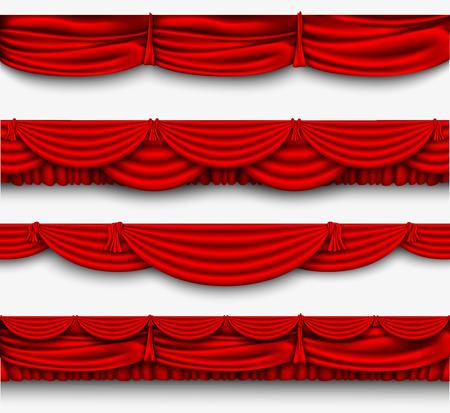 telon de teatro: conjunto de seda roja Pelmet y cortinas rojas de seda vector Vectores