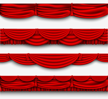 red silk set Pelmet and silk red curtains vector