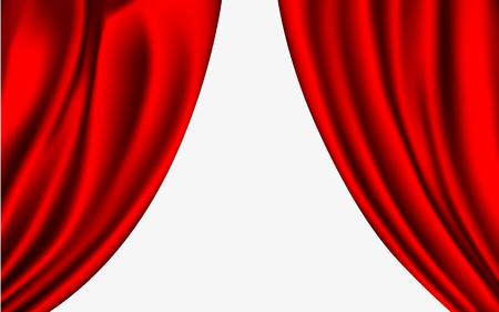 vector red silk curtain with shadows and pelmet