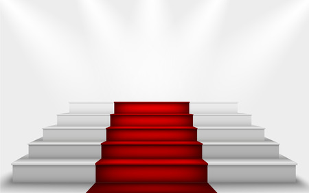 hollywood star: stairs to the podium with a red carpet