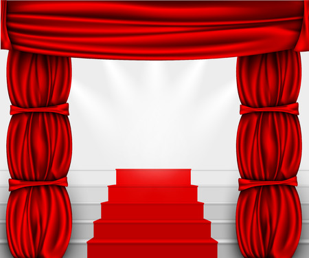 draped cloth: silk curtain with columns and stairs to the podium with a red carpet