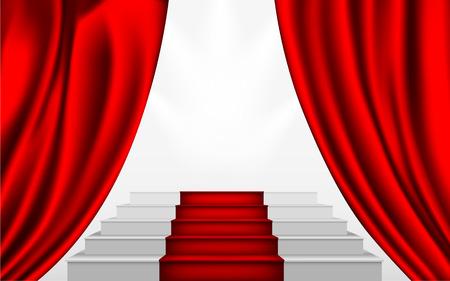 semaforo en rojo: cortina de seda y las escaleras para subir al podio con una alfombra roja Vectores