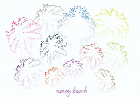 sunny beach: colorful bright sunny beach palm trees vector illustration Illustration