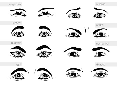 facial painting: description of human emotions in his eyes Illustration