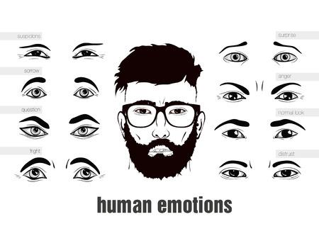 description of human emotions in his eyes Иллюстрация