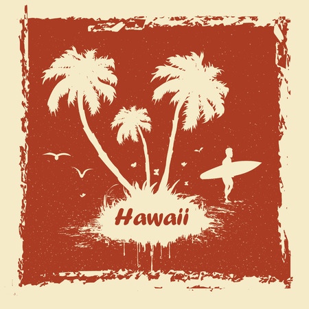 surfer vector: vector Sunny beach with palm surfer in Hawaii