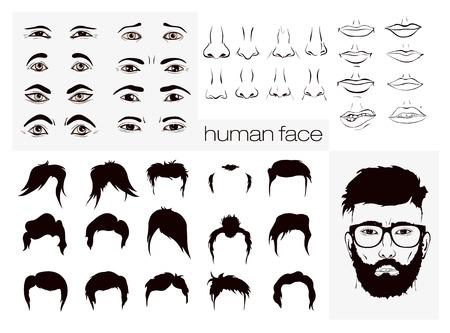 nariz: elementos del vector de hombres de la cara de una persona