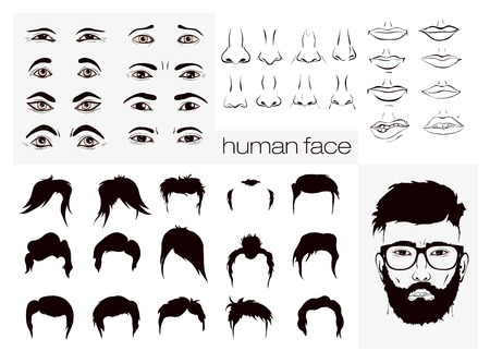 boy with glasses: vector elements of a persons face men Illustration