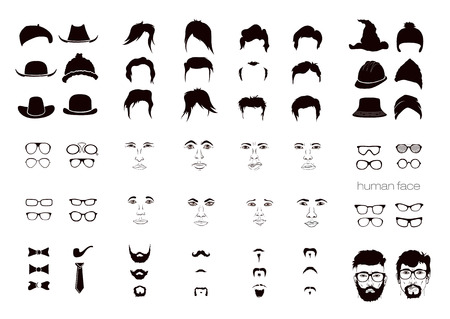 man long hair: vector elements of a persons face men Illustration