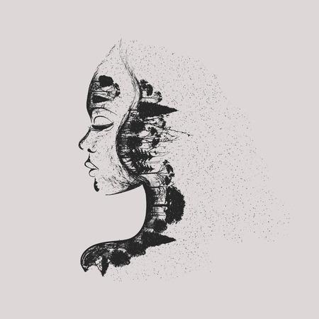 bocetos de personas: mujer con �rboles secos y bosques oscuros en el rostro oscuro arte Vectores