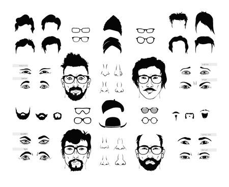 bald head: vector elements of a person face men