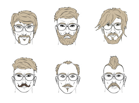 cartoon hairdresser: hair and beard on the sketch of a human face
