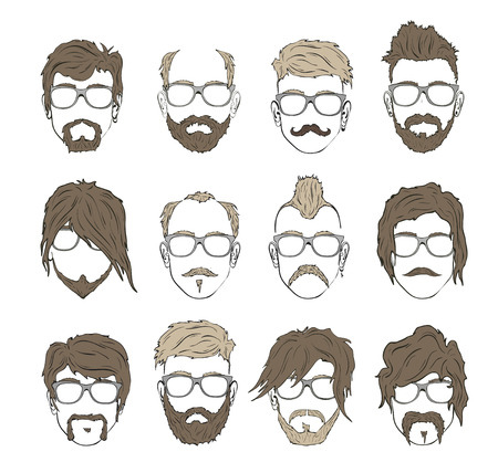 beard man: Illustrations hairstyles with a beard and mustache wearing glasses. stylish and fashionable