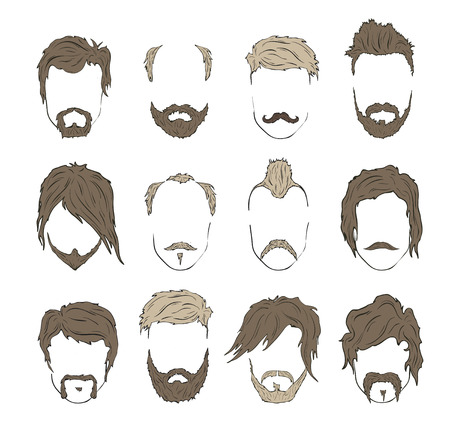 mutton: Illustrations hairstyles with a beard and mustache. stylish and fashionable